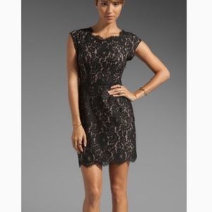 Joie Maribeth Lace Cocktail Dress Caviar Taupe S